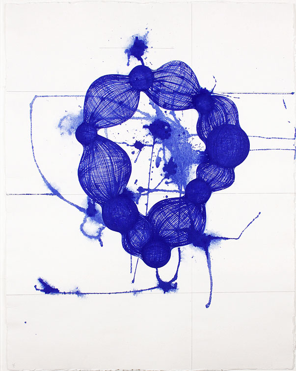 Yvonne Estrada, MD403-11 Blue, 2011, Gouache on Spanish handmade paper, Paper: 25 x 20 in.