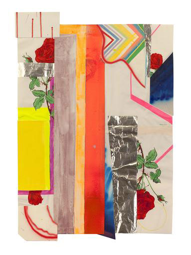 Sarah Cain, Last Rose, 2008, Paper, tinfoil, canvas, acrylic, and gouache on paper, Paper: 27 1/2 x 15 1/2 in.