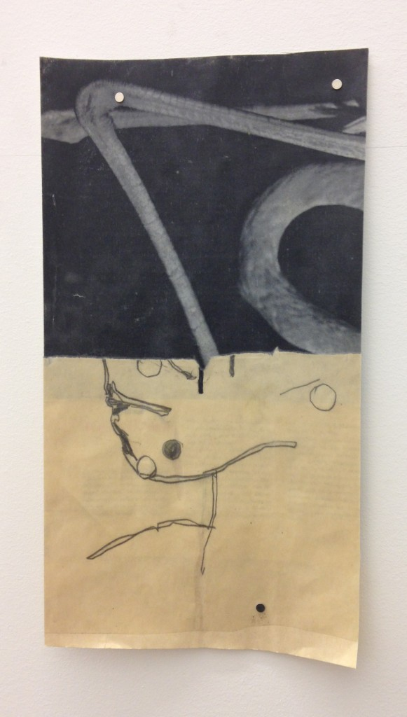 Kate Levant, Untitled, 2014, Magazine print and graphite on paper, Paper: 12 x 6 1/2 in.