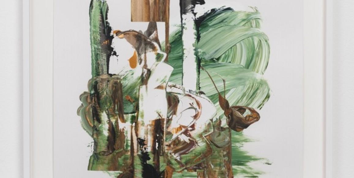 Elizabeth Neel, In the Shelter Belt, 2014, Acrylic on paper, Framed: 28 1/2 x 23 1/2 x 1 1/2 in.