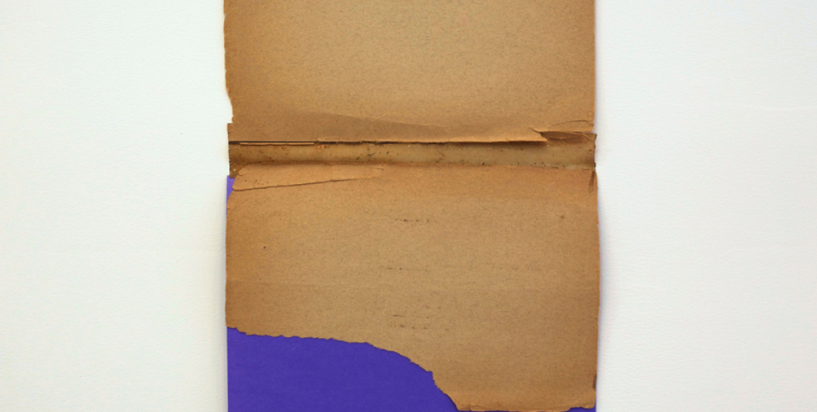 Austin Thomas, Purple Collage, 2013, Book Paper, construction paper, archival book binder's glue, Paper: 15 x 9 in.