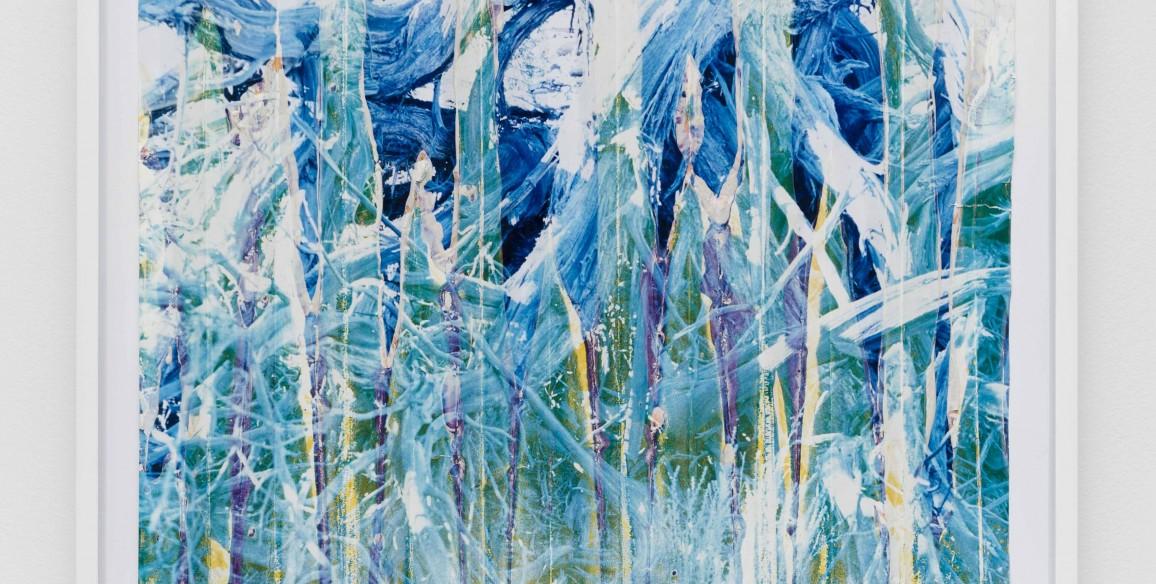 Letha Wilson, Blue Sage Cement Fold (Facedown), 2013, Unique c-print, white portland cement, Paper: 24 x 20 x 0 3/4 in.